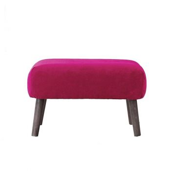 Small Upholstered Retro Classic Linen Footstool