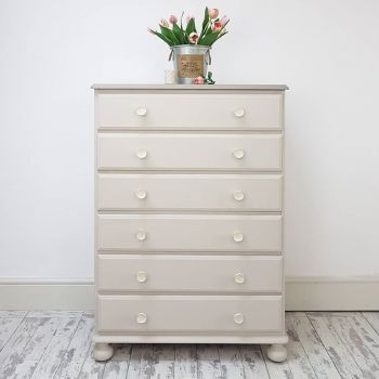 Solid Pine 6 Drawer Tallboy with Jewel Ceramic Knobs