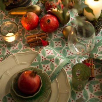 red and green Christmas berry tablecloth, Sarah K