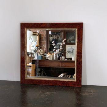 Square Walnut Veneer Mirror