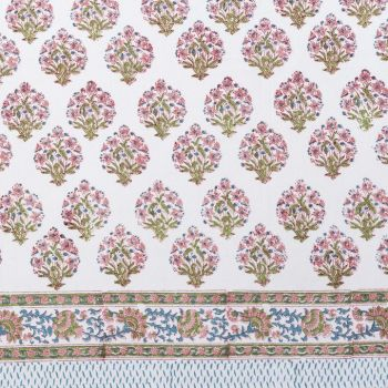 pink and blue floral block print cotton tablecloth mews furnishings