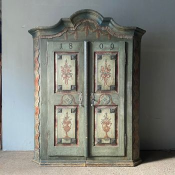 Superb Carved & Painted Marriage Cupboard Folk Armoire