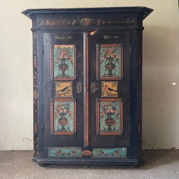 Original Folk Painted Marriage Armoire With Bird Design, John Cornall