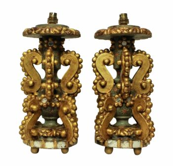 Pair of Genoese Gilt Wood Lamps