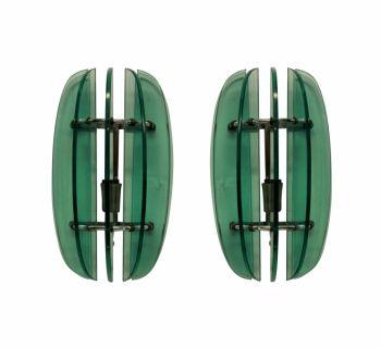 1950s Green Glass Veca Wall Lights