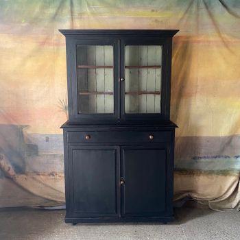 Tall Glazed Antique Pine Bookcase