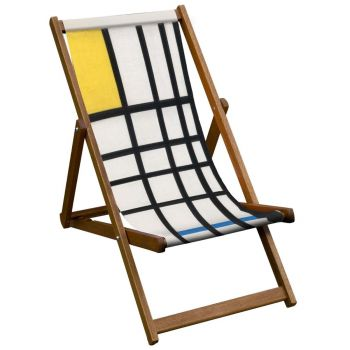 Vintage Style Deckchair with Mondrian Style Tate Design Sling