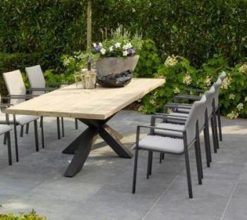 Oak Garden Table with Steel Cross Legs & Chair Set (Carbon)