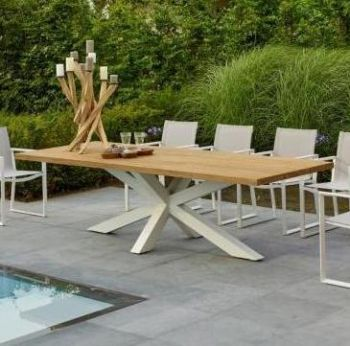 Solid Oak Top Garden Table with Steel Crisp White Cross Legs and Chair Set