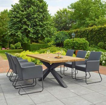 Solid Oak Top Garden Table with Steel Cross Legs