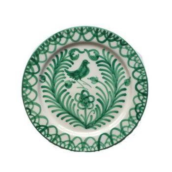 Spanish Ceramic Dinner Plate with Green Bird Design