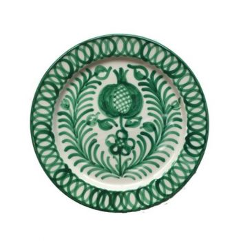Spanish Ceramic Dinner Plate with Green Pomegranate Design