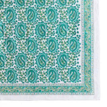 Vibrant Paisley Tablecloth in Aqua