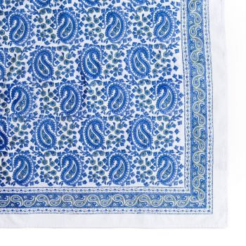 Vibrant Paisley Tablecloth in Blue