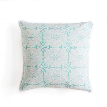 Square Flower Aqua Block Print Cushion