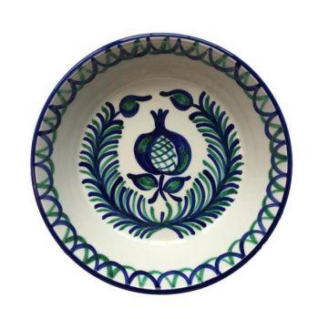Spanish Ceramic Lebrillo Bowl with Pomegranate & Fern Design
