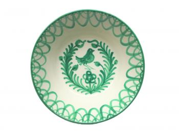 Spanish Ceramic Lebrillo Medium Bowl with Green Bird Design