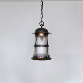 Three Polished Copper Lanterns With Frosted Glass