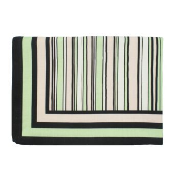 The Tiger Lily Pink, Green and Black Striped Table Cloth, Large