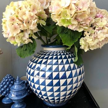 Traditional Antique Style Bummolo Ceramic Blue White Vase