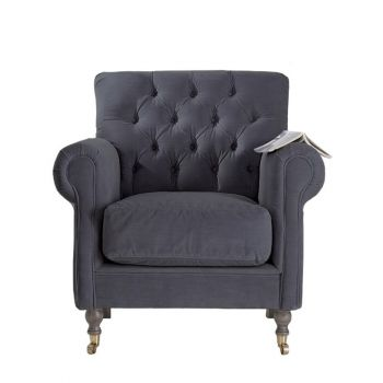 Traditional Classic Deep Buttoned Velvet Armchair