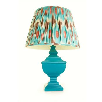 Melodi Horne turquoise burgundy linen Ikat lampshade