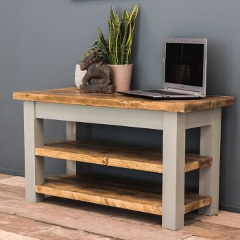 Oak TV Stand with Double Shelf