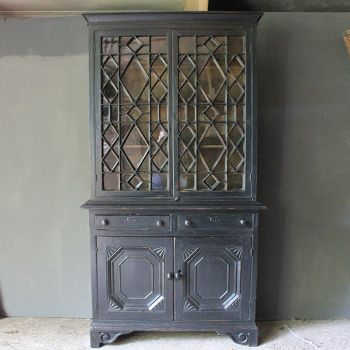 Very Rare Astragal Glazed Pine Bookcase in Original Paint