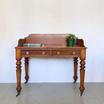Victorian Desk or Washstand with Floral Glass Handles