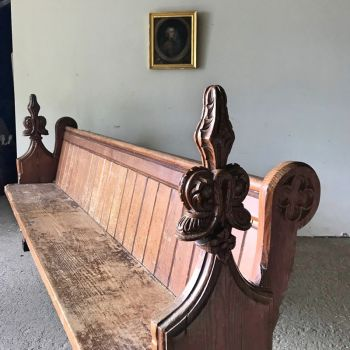 Victorian Pine Pew Bench with Poppy Head Finials
