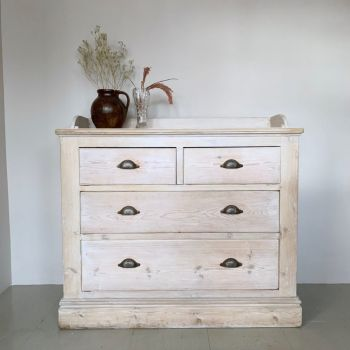 Victorian Pine Lime Wash Chest of Drawers with Ornate Handles