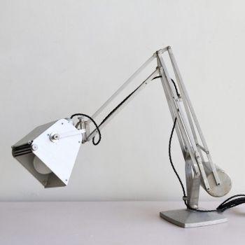 Vintage Industrial Silver Hadrill and Horstmann Pluslite Desk Lamp