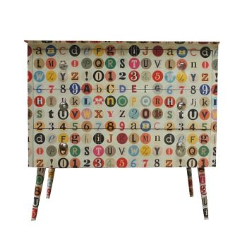 Vintage Upcycled ABC Circles Chest of Drawers