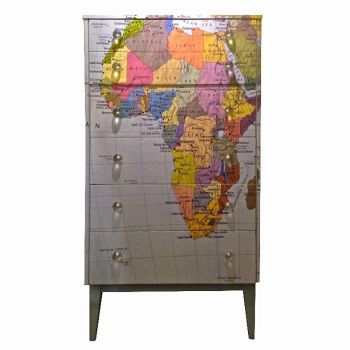 Vintage Upcycled Tall Map Chest of Drawers