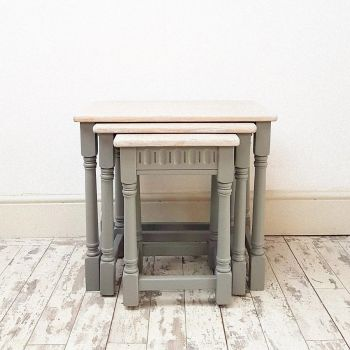 Vintage Nest of Grey Stackable Tables