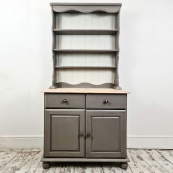 Vintage Welsh Dresser Painted In Grey Chalk Paint