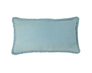 Birdie Fortesque Mishran Staple Velvet Rectangle Cushion in Sky Blue