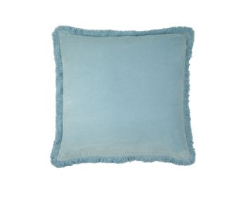 Birdie Fortesque Mishran Staple Velvet Square Cushion in Sky Blue
