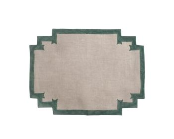green placemat natural linen block printed Birdie Fortesque