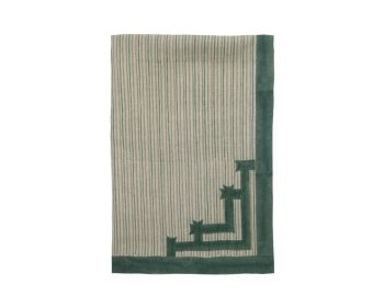 Large Green striped block printed tablecloth birdie fortesque
