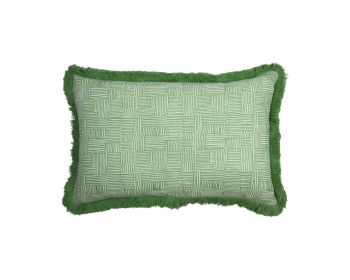 Birdie Fortesque Mishran Crosshatch Cushion  in Vetiver Green