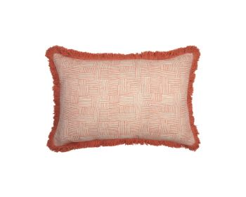 Birdie Fortesque Mishran Crosshatch Cushion  in Coral Pink