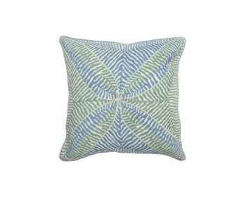 Birdie Fortesque Mishran Embroidered Cushion in Seafoam- green and blue