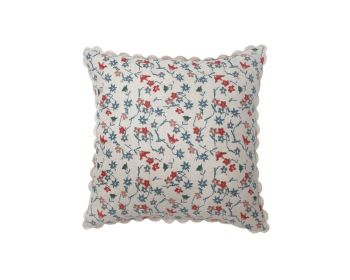 red and blue block printed natural linen cushion birdie fortesque