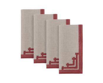 red napkin block printed natural linen birdie fortesque