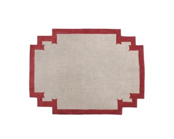 red napkin block printed natural linen birdie fortesque