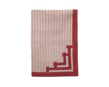 large Red Striped Linen Tablecloth Block printed, Birdie Fortesque