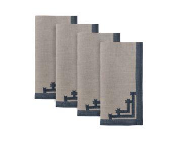 Blue bordered napkins natural linen block printed birdie fortesque