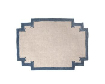 blue placemat natural linen block printed birdie fortesque