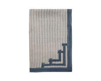 Large Blue Stripe Linen Tablecloth Block printed, Birdie Fortesque